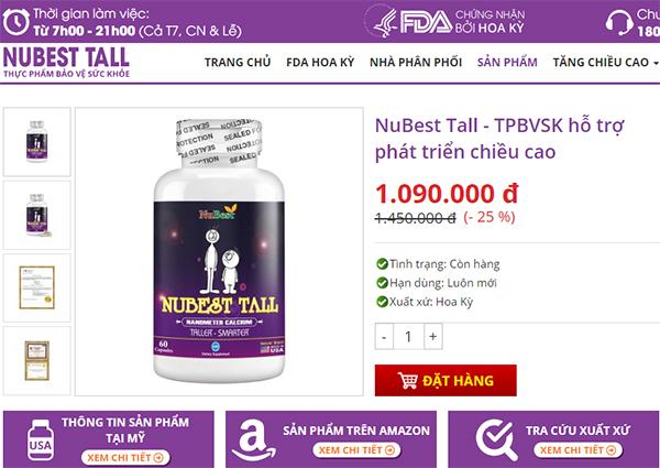 NuBest Tall được nhà phân phốicông bố bán trên website nubesttall.com