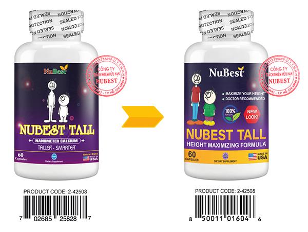 Sự khác biệt về nhãn chai cũ - mới của NuBest Tall
