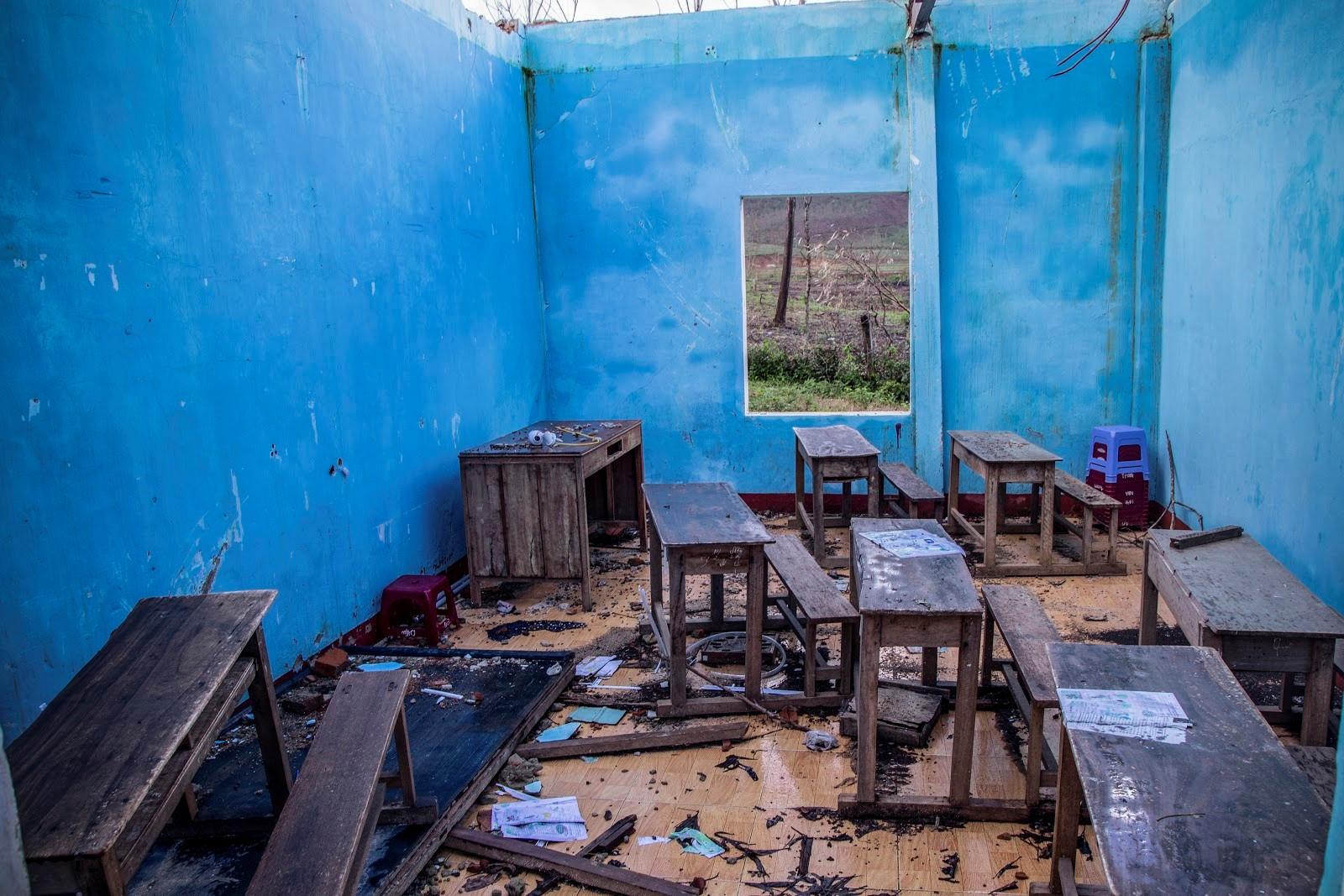 Điểm trường Thọ An thuộc cụm trường Tiểu Học & THCS Bình An  sập hoàn toàn sau bão số 9