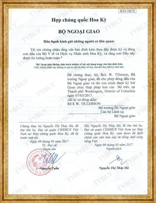 giấy chứng nhận FDA Hoa kỳ